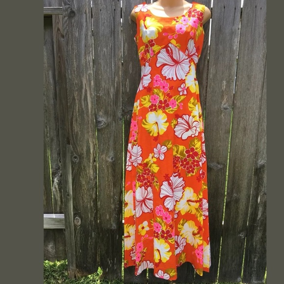 6db64402 Vintage Dresses | Royal Hawaiian Sz 10 Barkcloth Maxi Dress | Poshmark